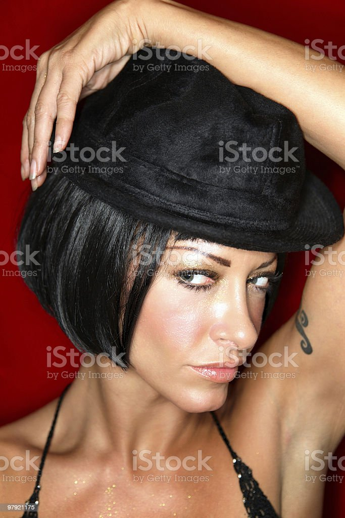 Woman with hat royalty-free stock photo