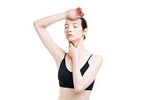 istock Woman with headache and with pain in the throat 496859436