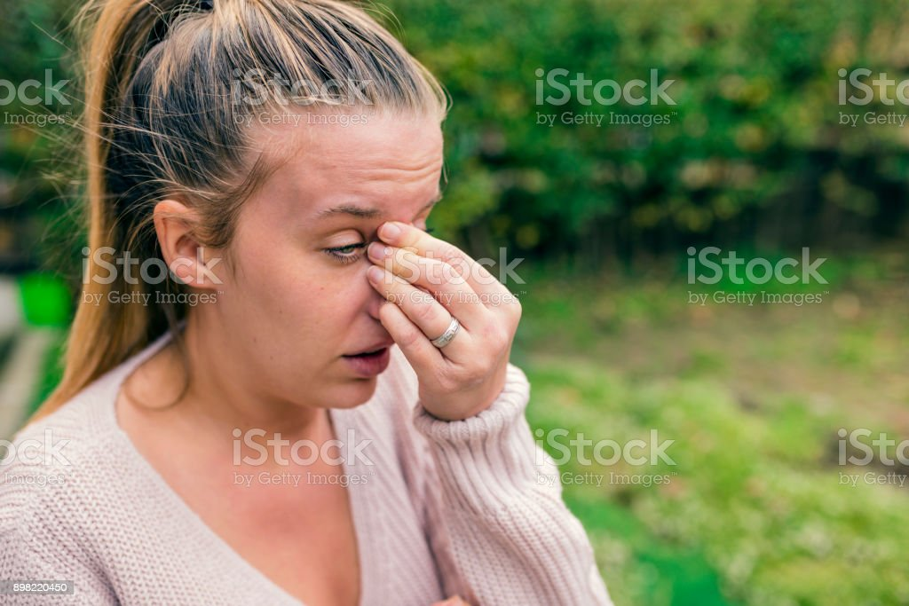 Woman with headache. stock photo
