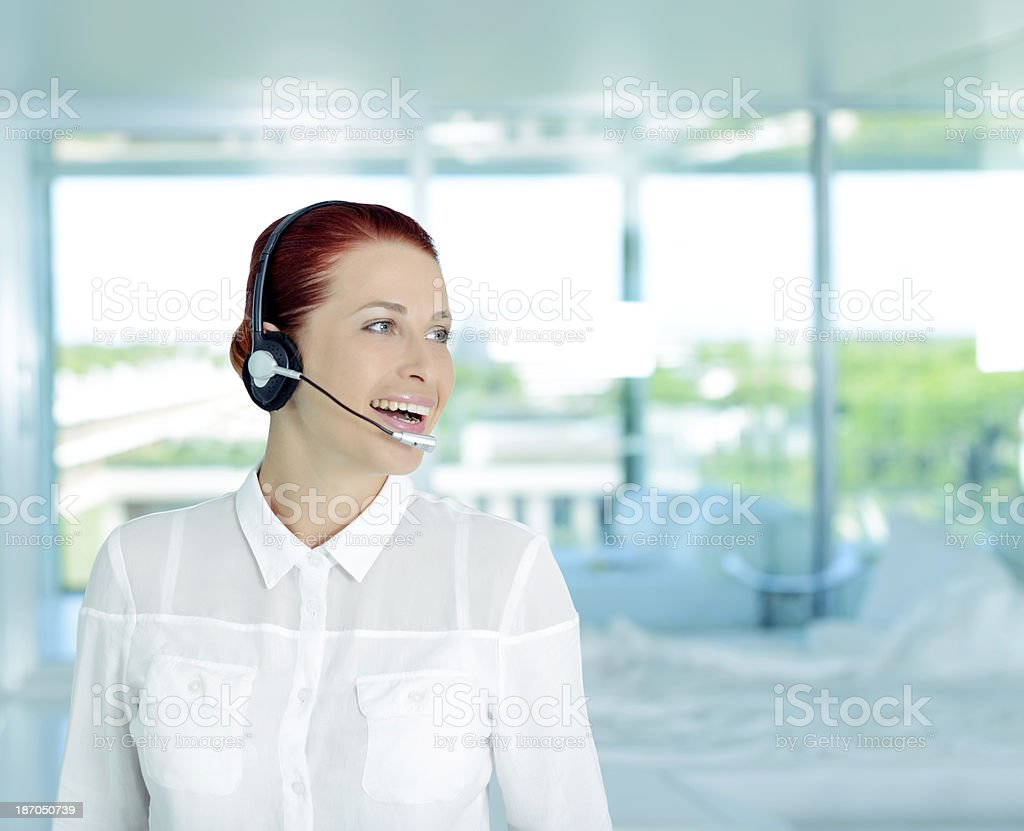 woman with headphones royalty-free stock photo