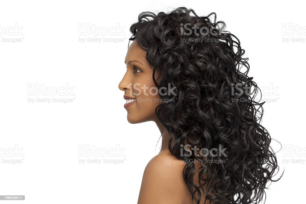 Woman with healthy curly hair. stock photo