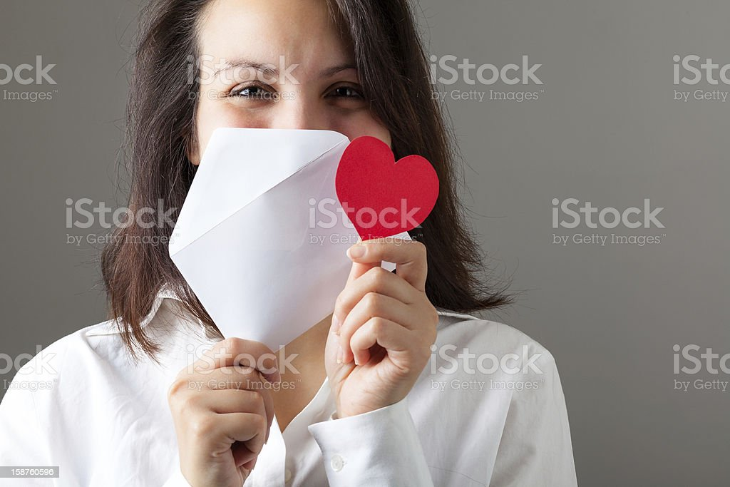 Woman with Heart and Envelop stock photo