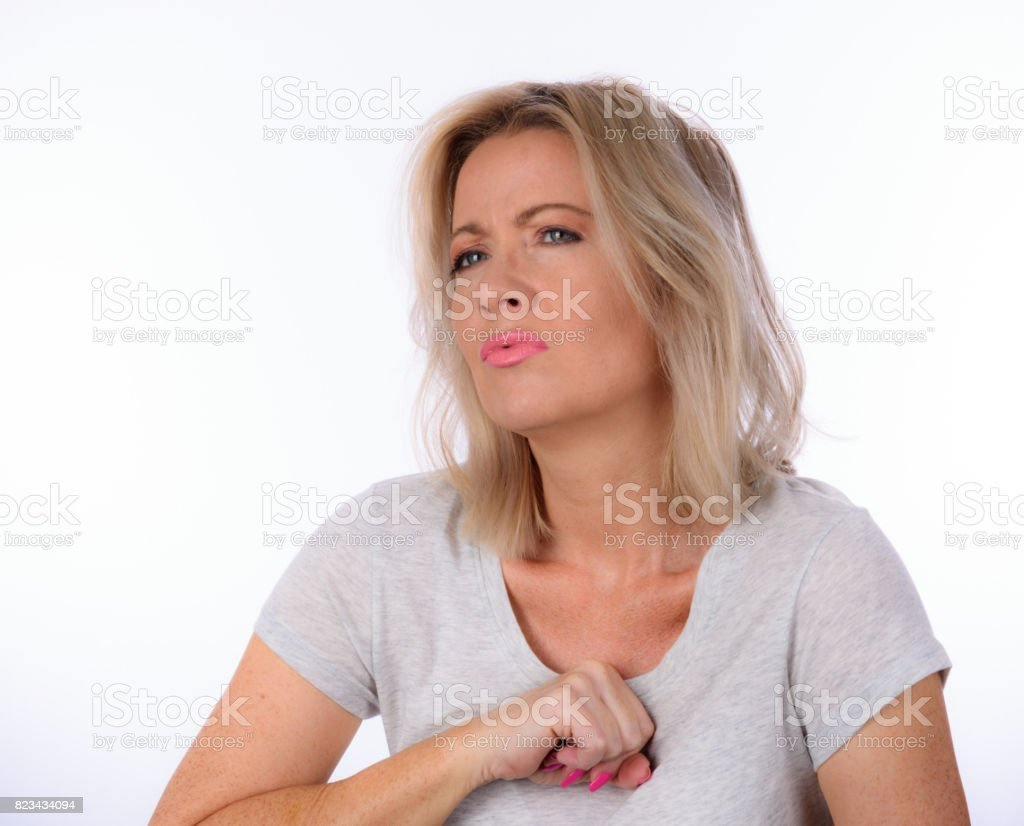 Woman With Heartburn stock photo