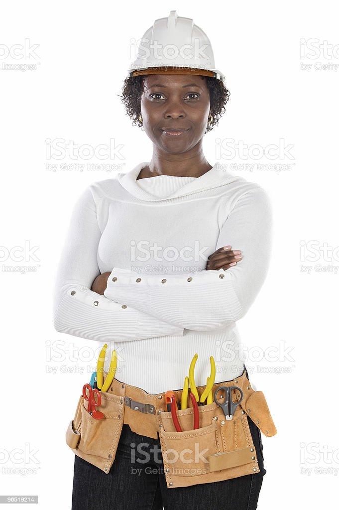 Kobieta w kasku i narzędzia zbiór zdjęć royalty-free