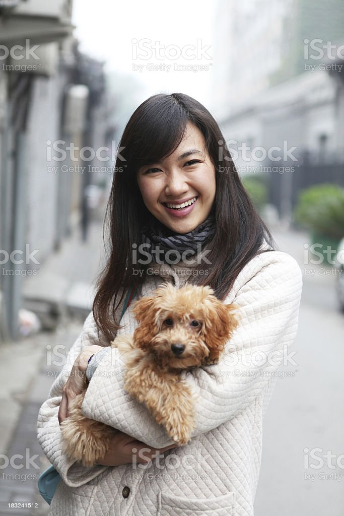 Woman With Her Dog at Outdoors - XLarge royalty-free stock photo