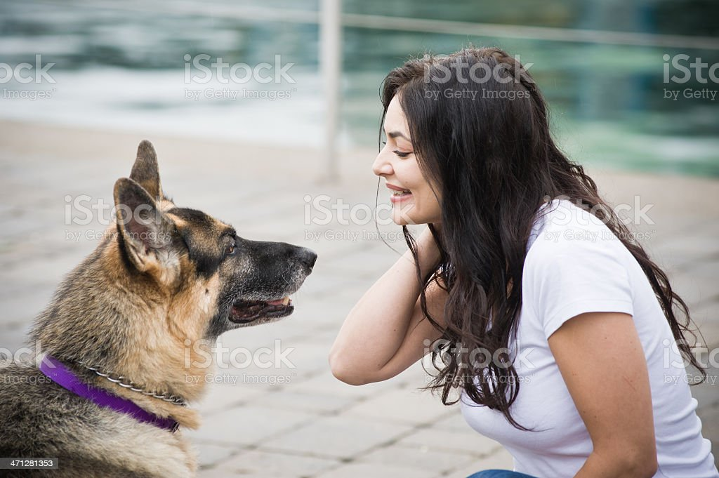 Woman with her Dog royalty-free stock photo
