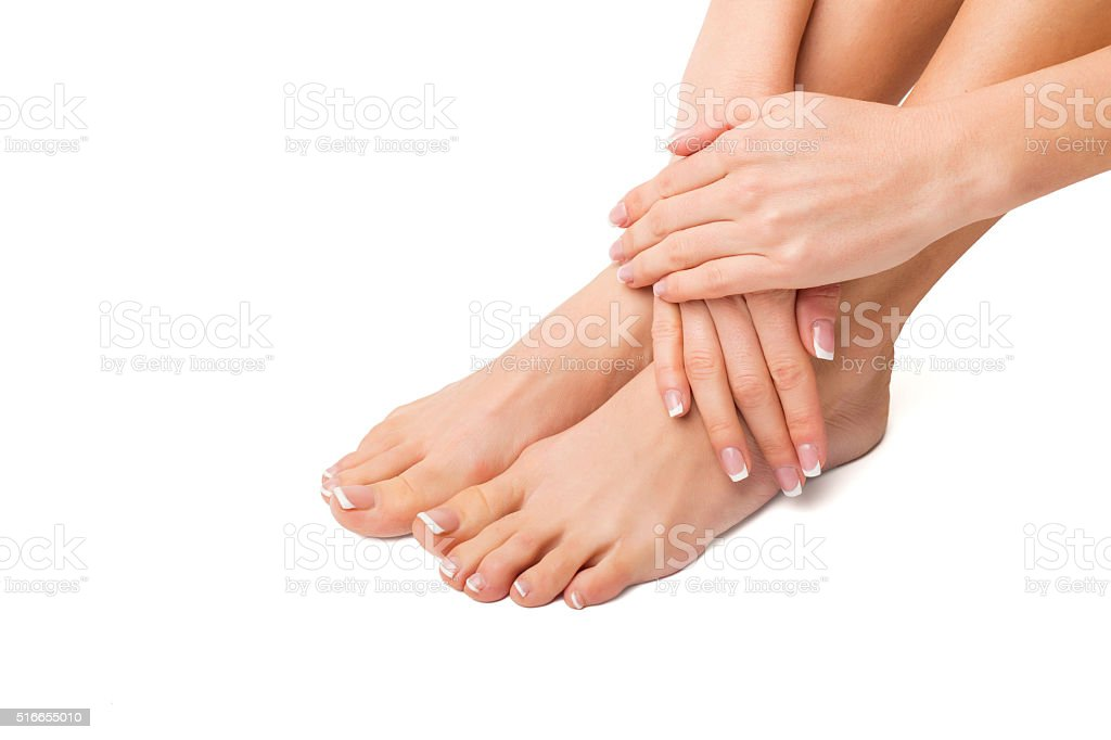 Woman with her feet and hands done stock photo