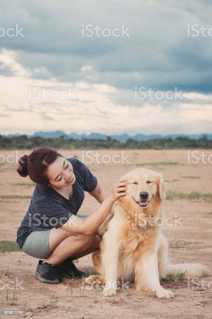 woman with her golden retriever dog playing outdoors stock photo