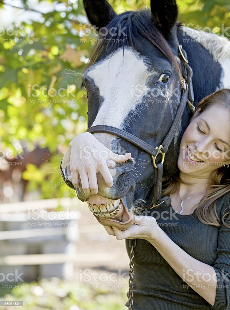 Woman With Her Horse royalty-free stock photo
