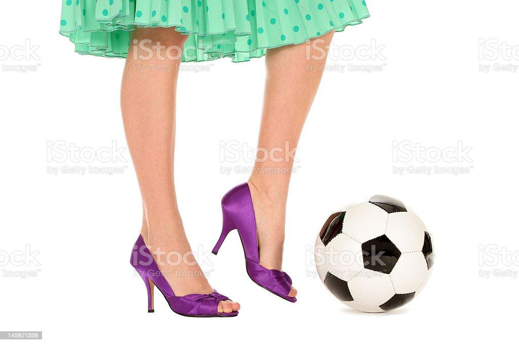 Ball Mit Mehr Einen Heels Treten High Fußball Frau Stockfoto Und zUqMSVp