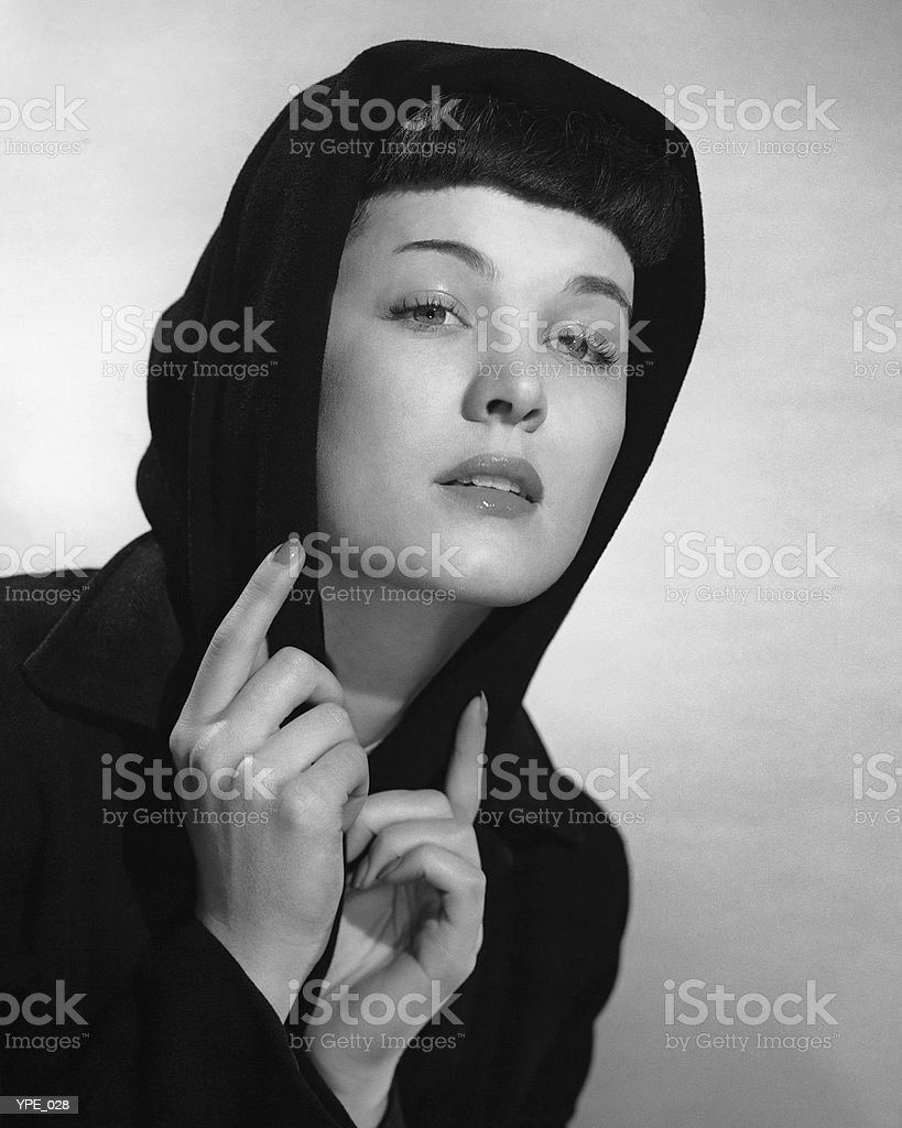 Woman with hood on head royalty-free stock photo