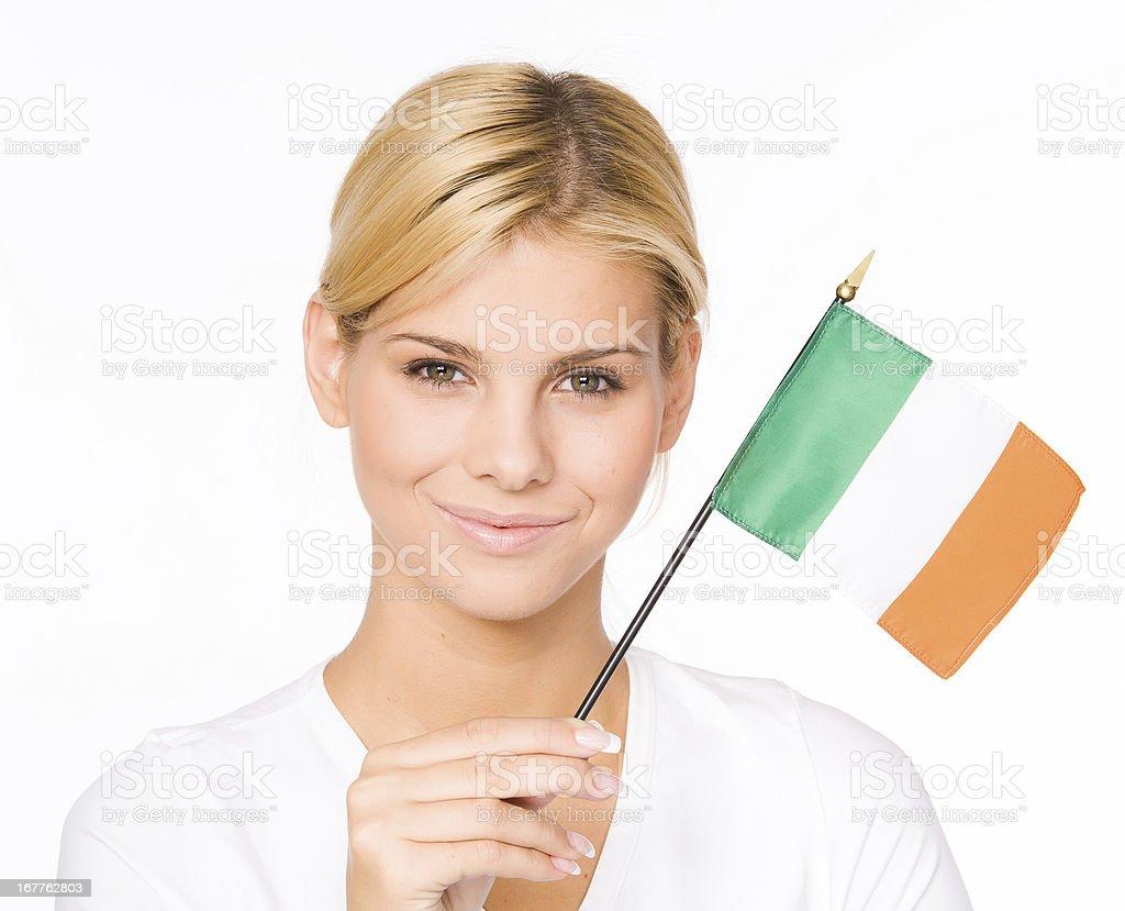 Woman with Irish flag stock photo