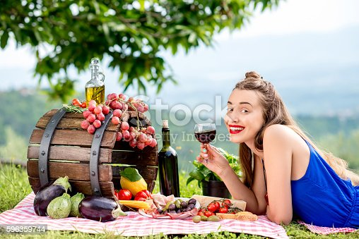 Woman With Italian Food Outdoors Stock Photo & More Pictures of Adult