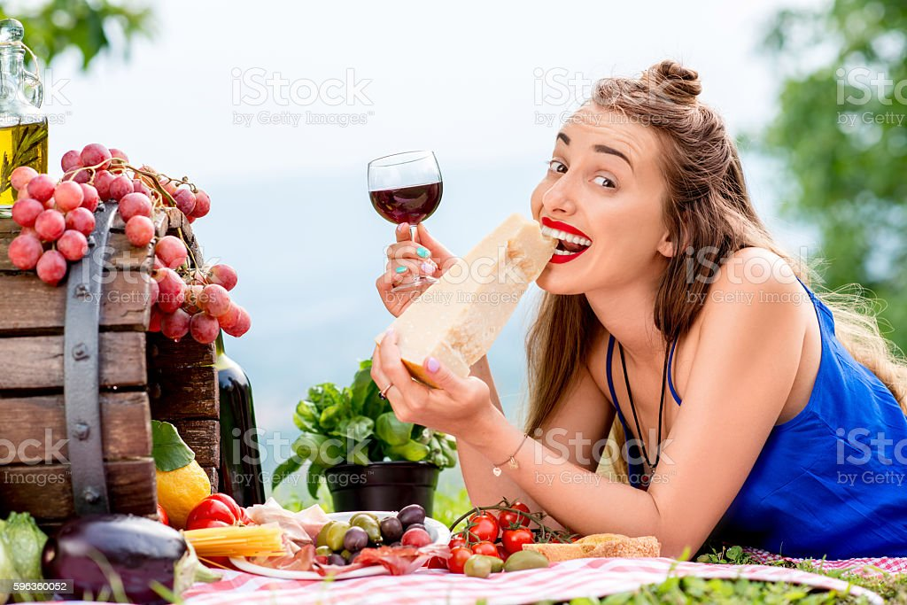 Woman with italian food outdoors royalty-free stock photo