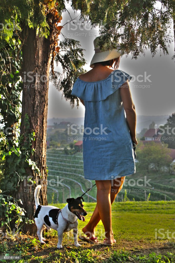 Woman with jack russell dog stock photo