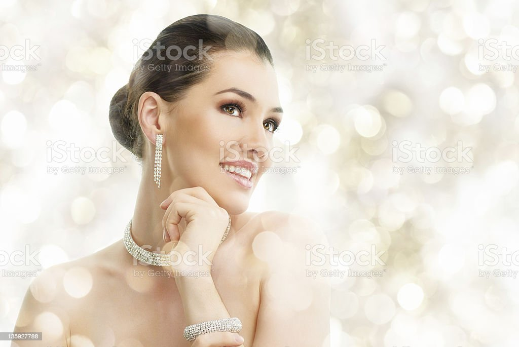 woman with jewelry royalty-free stock photo