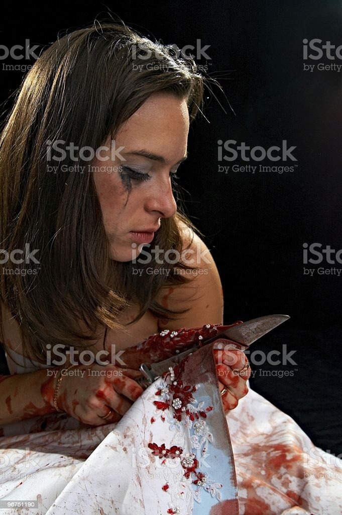 woman with knife stock photo