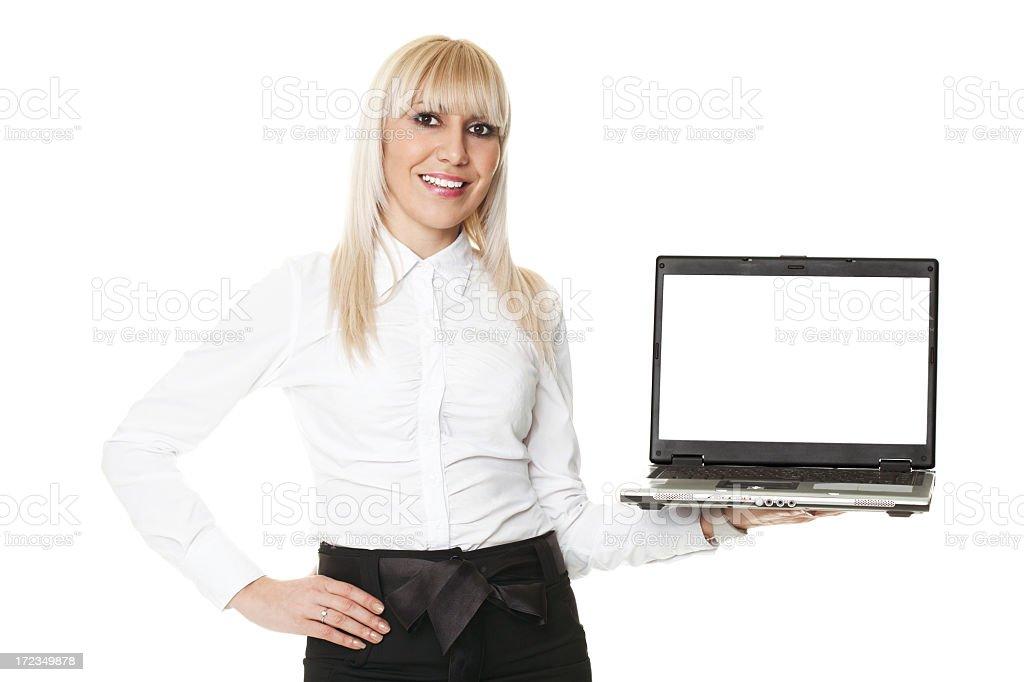Mujer con ordenador portátil foto de stock libre de derechos