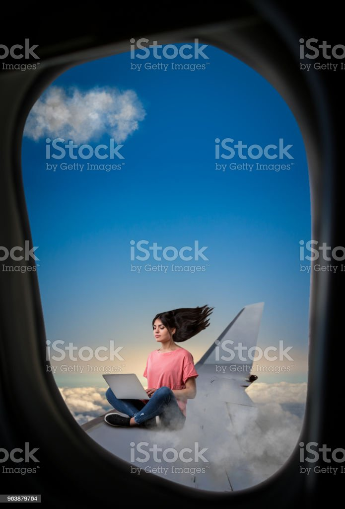 Woman with laptop sitting on plane wing - Royalty-free Adult Stock Photo