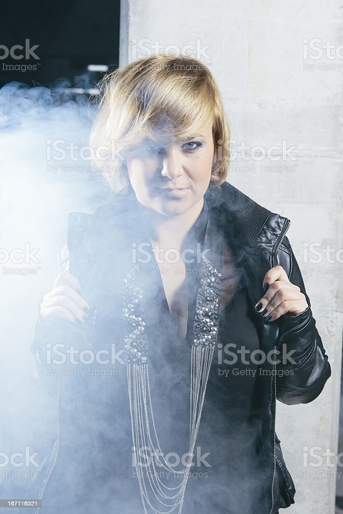 Woman With Leather jacket royalty-free stock photo