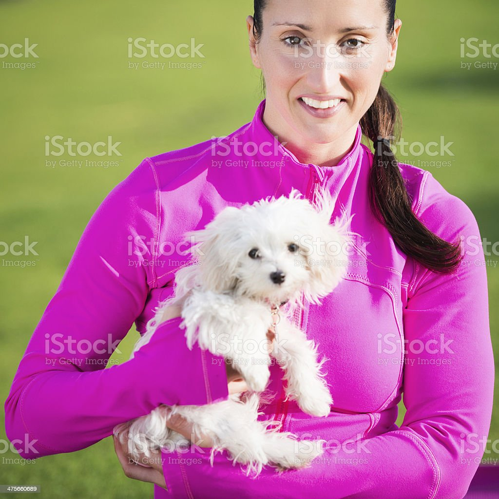 Woman with little dog royalty-free stock photo