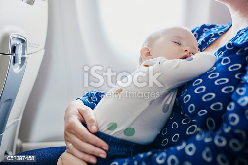 istock Woman with little girl travelling by plane 1052397458