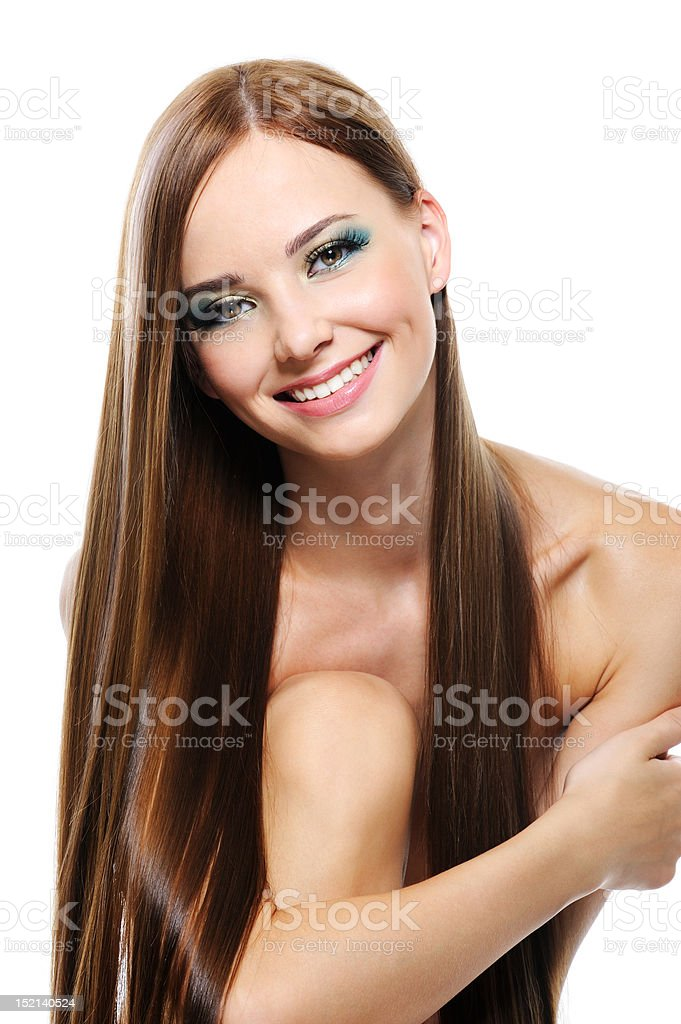 Woman with long beautiful straight hair royalty-free stock photo