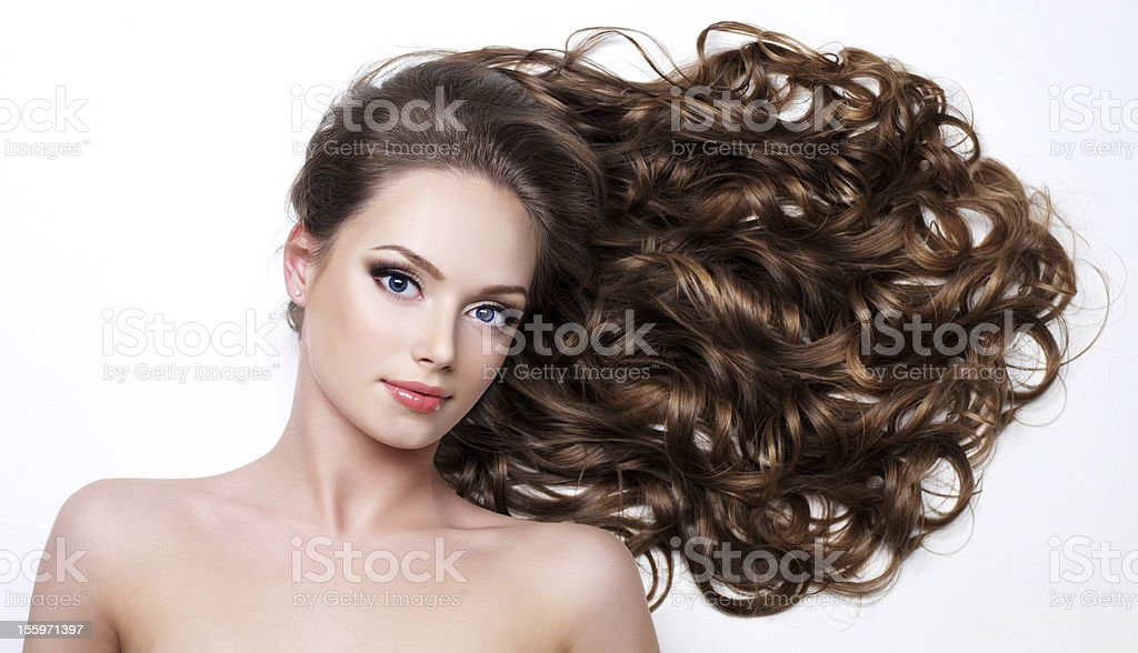 Woman with long beauty hair stock photo