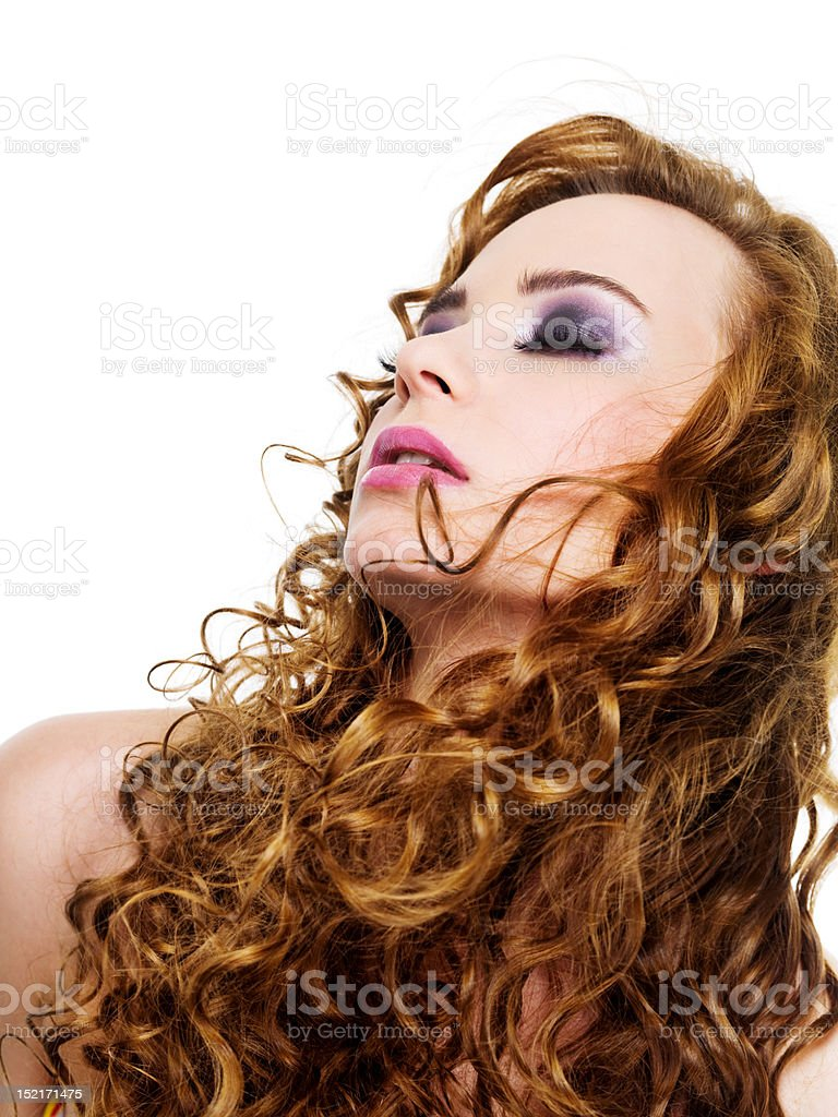 Woman with long cruly hairs stock photo