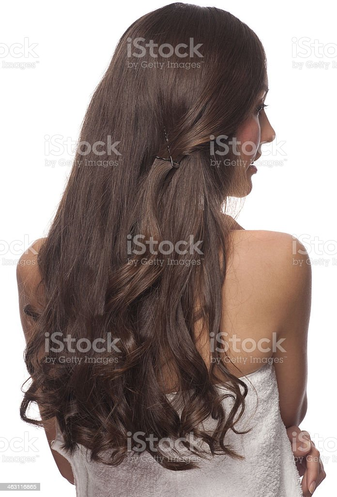 Woman with long healthy hair stock photo