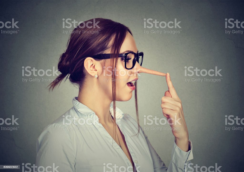 Woman with long nose. Liar concept. - Royalty-free Adult Stock Photo