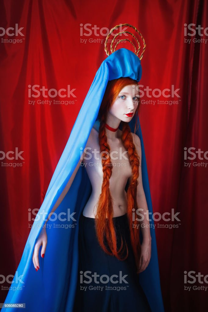 Woman With Long Red Hair Tied In Braids Girl With Red Lips Blue Eyes ...