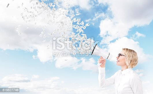 513123170 istock photo Woman with loudspeaker 515527746