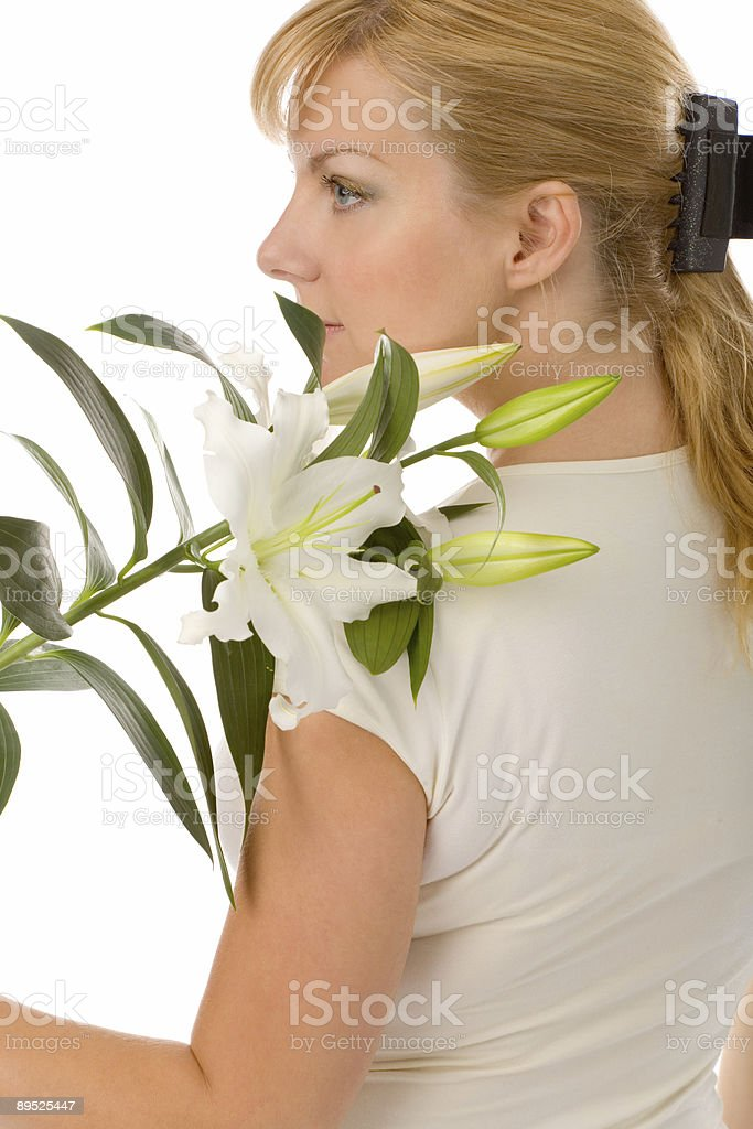 woman with madonna lily royalty-free stock photo