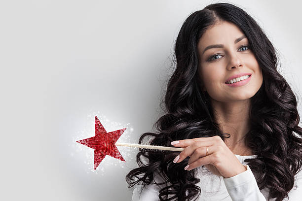 woman with magic wand - fairy wand stock photos and pictures