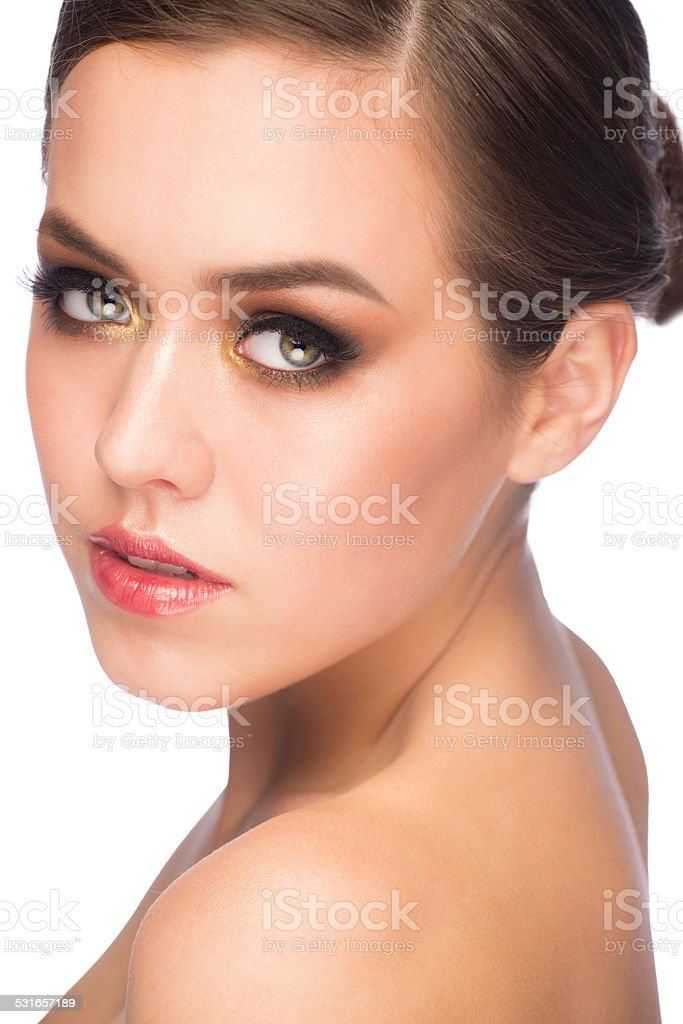 Woman with makeup stock photo