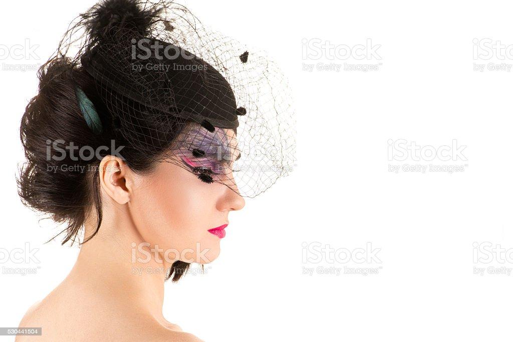 donna con trucco viso con velo profilo foto stock royalty free