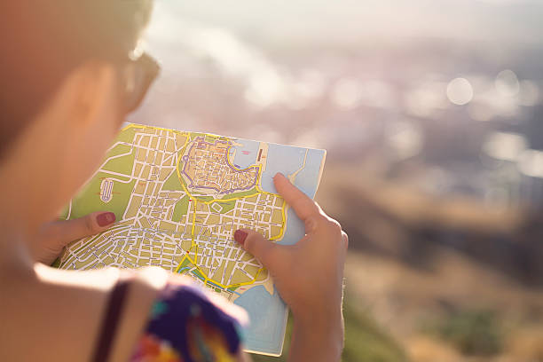 woman with map - road map stock photos and pictures