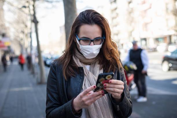 Woman with mask against Coronavirus. stock photo