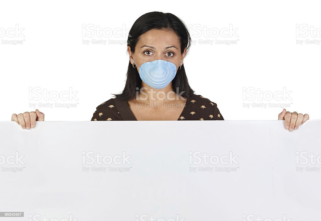 Woman with mask and poster royalty-free stock photo