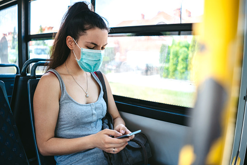 istock Woman with mask in bus 1166396611