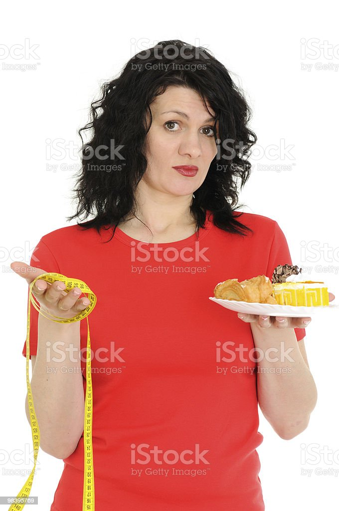 woman with measuring tape royalty-free stock photo