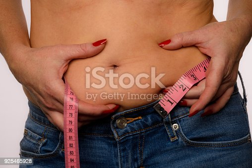 521792753istockphoto Woman With Measuring Tape Showing Belly Bulge On A White Background 925465928