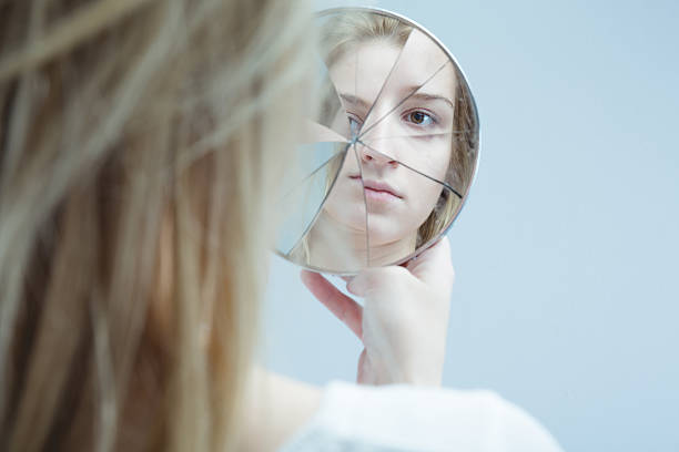 Woman with mental disorder stock photo