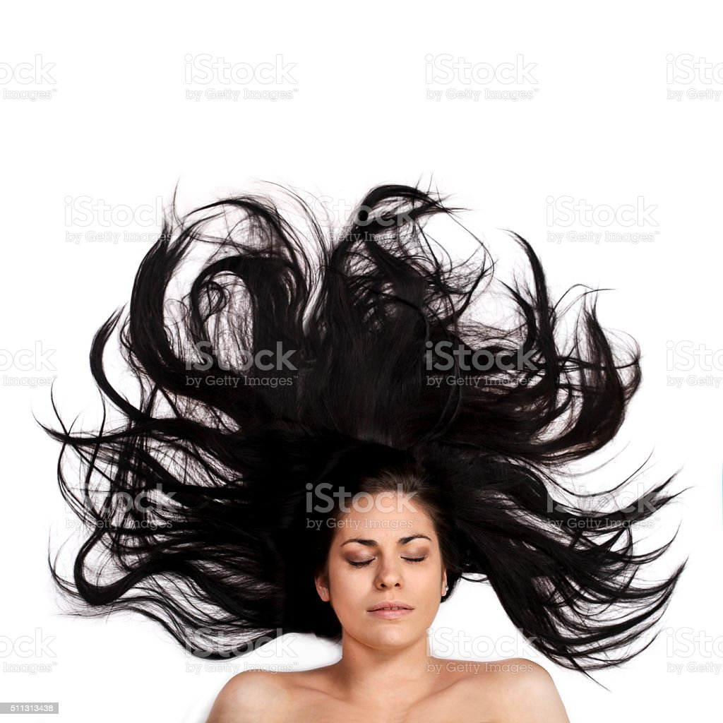 Woman with messy hair stock photo