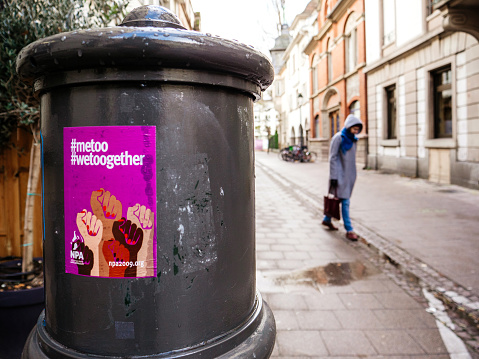 Woman With Metoo Wetoogether Campaign Poster Stock Photo - Download Image Now