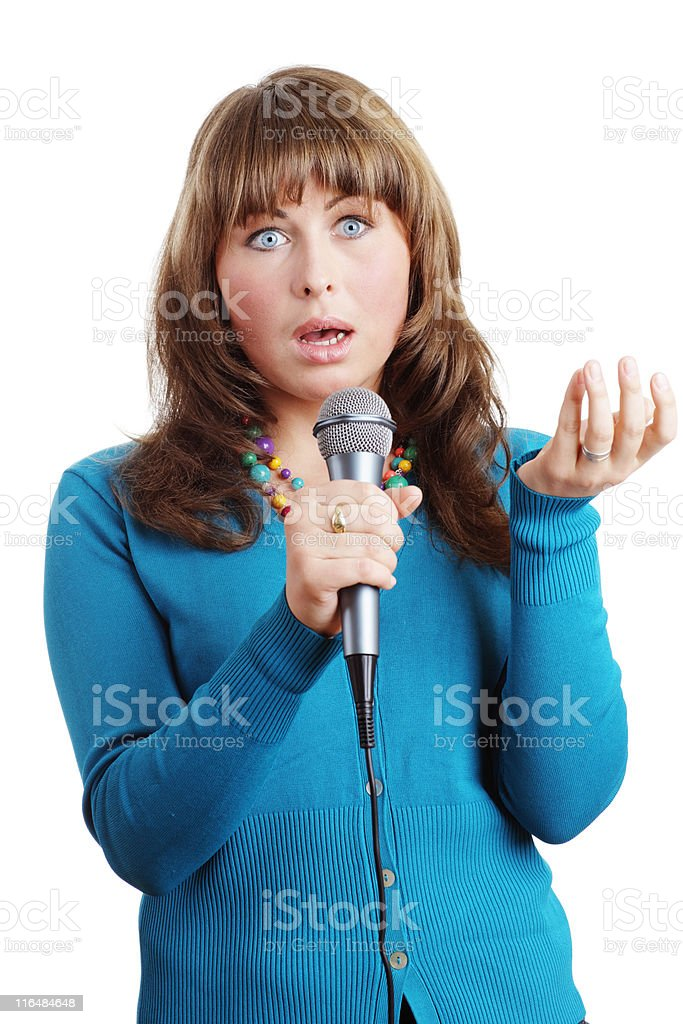 Woman with microphone stock photo