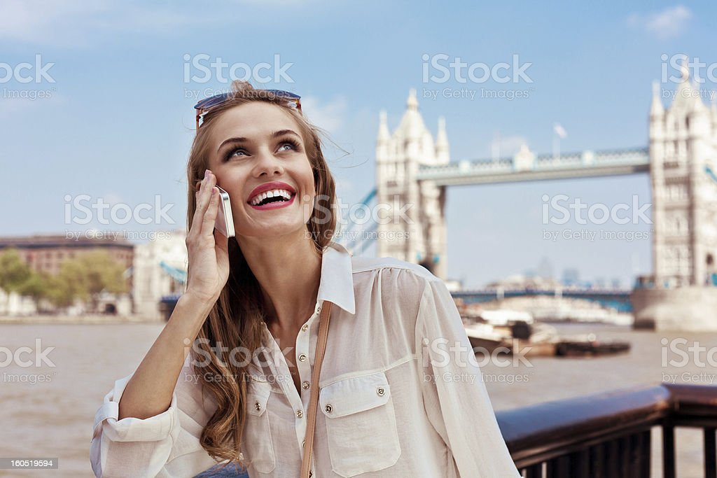 Woman with mobile phone royalty-free stock photo