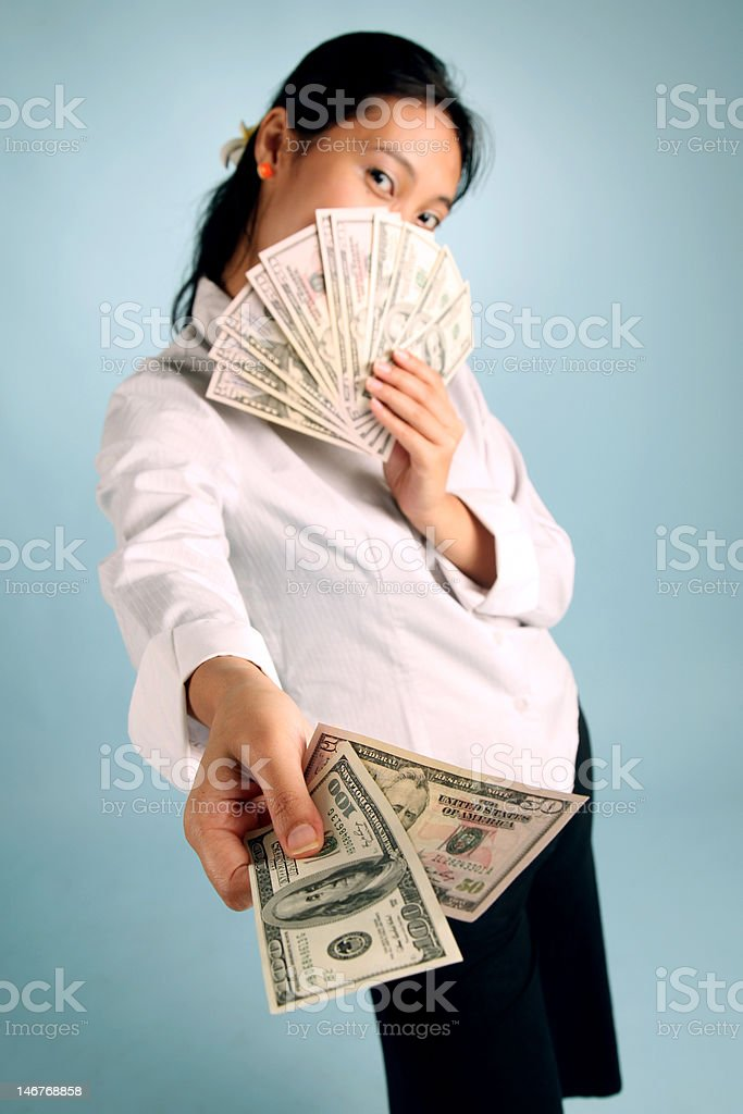 Woman with Money royalty-free stock photo