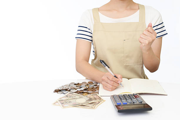Woman with money stock photo